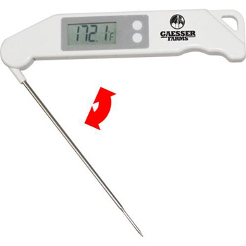 LARGE DIGIT LCD COOKING THERMOMETER WITH FOLDING STAINLESS STEEL PROBE