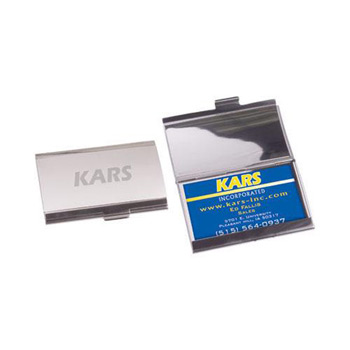 Horizontal Business Card Holder - Brushed/Polished Aluminum
