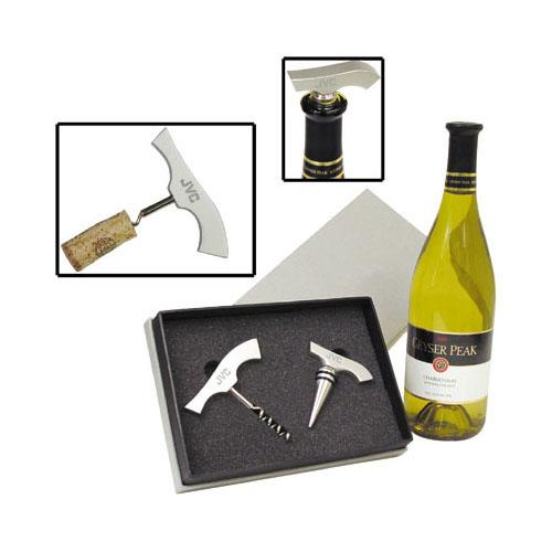 Aluminum Corkscrew and Wine Stopper Gift Set