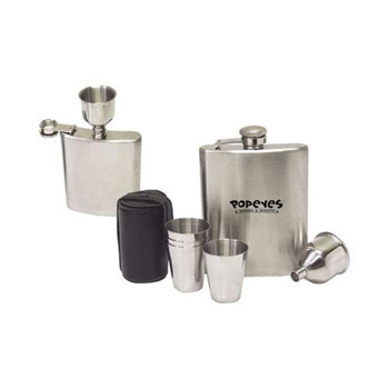 7-Piece Stainless Steel Hip Flask Gift Set