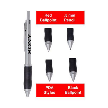4-in-1 Pen PDA Stylus with Silicone Rubber Grip