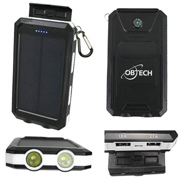 10,000 mAh Solar USB Power Bank with Dual LED Flashlight