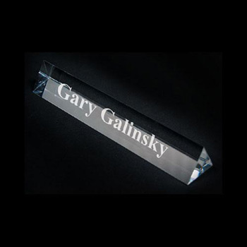 "Crystal Prism Name Plate - 6 3/4""w x 1""h x 1""d"