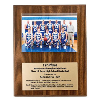 "Walnut Finish Photo Plaque - 8"" x 10"""