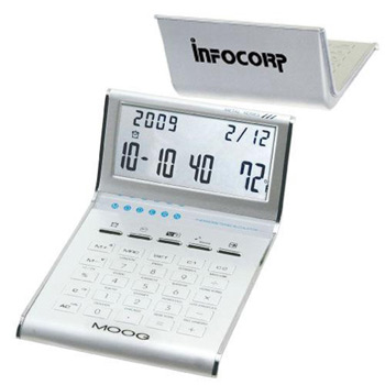 Aluminum Slim Line Calculator/Clock with Date, and Temperature