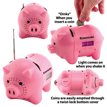 "AM/FM Clock Radio Piggy Bank with ""Oink"" Sound"