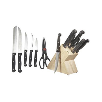 6-Piece Stainless Steel Knife Set with Wooden Block